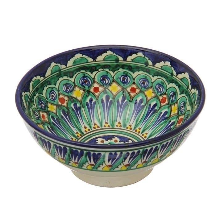 Коса для первых блюд Риштанская Керамика малая d-14,5 см. h-7 см. синяя - фото 7452