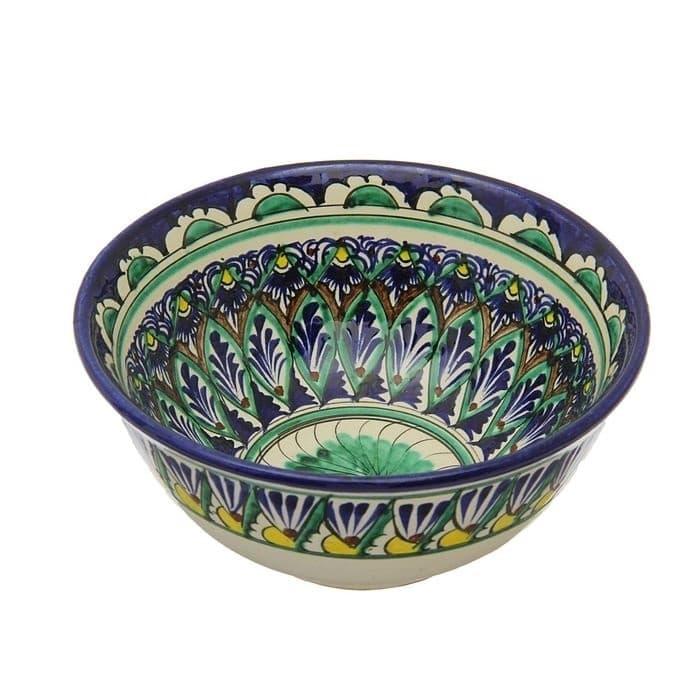 Коса для первых блюд Риштанская Керамика малая d-14,5 см. h-7 см. синяя - фото 7455