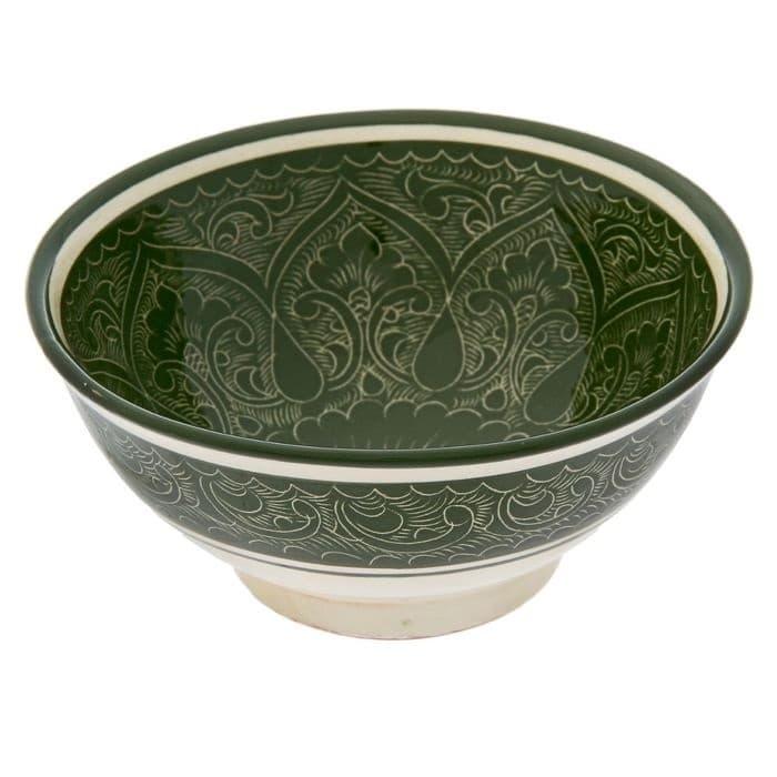 Коса для первых блюд Риштанская Керамика малая d-14,5 см. h-7 см. зеленая - фото 7460