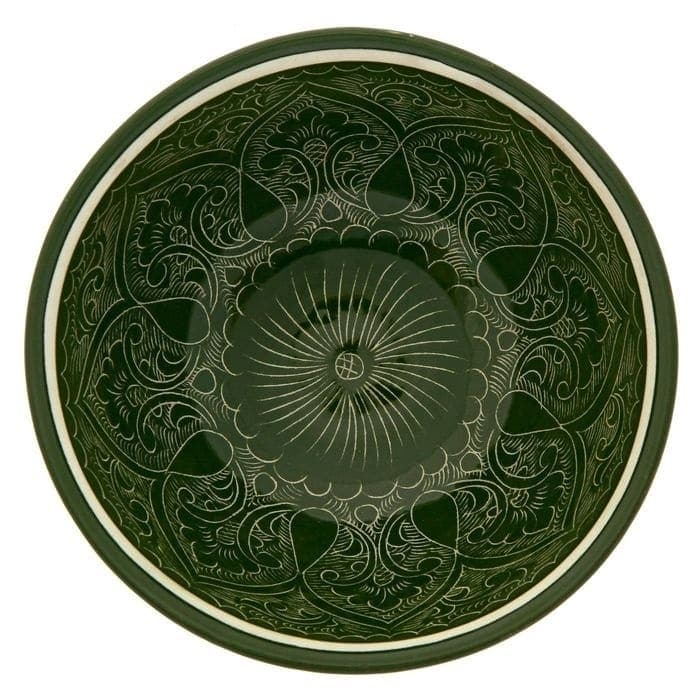 Коса для первых блюд Риштанская Керамика малая d-14,5 см. h-7 см. зеленая - фото 7462