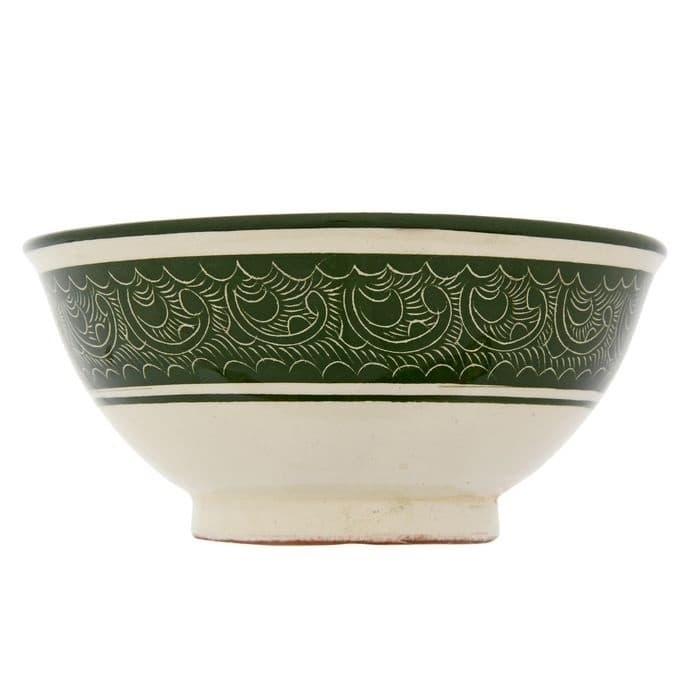 Коса для первых блюд Риштанская Керамика малая d-14,5 см. h-7 см. зеленая - фото 7463