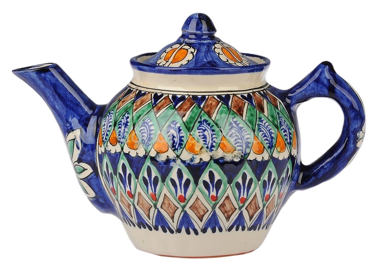 Чайник заварочный Риштанская Керамика 0.7 л. синий - фото 7474