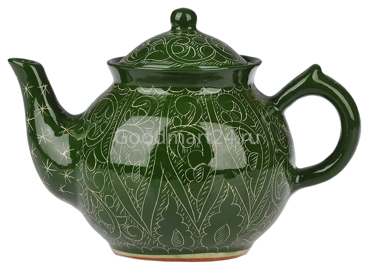 Чайник заварочный Риштанская Керамика 1 л. зеленый - фото 7478