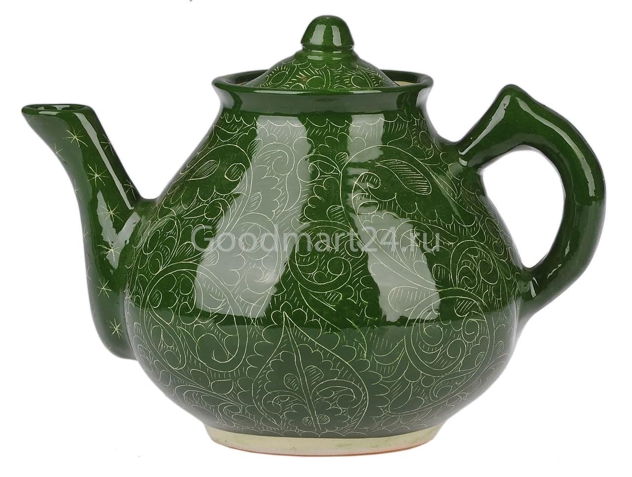 Чайник заварочный Риштанская Керамика 2 л. зеленый - фото 7479