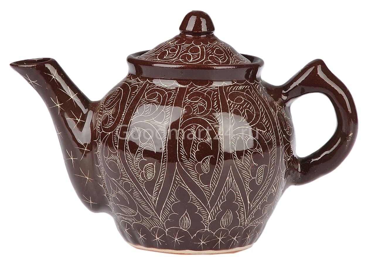 Чайник заварочный Риштанская Керамика 1 л. коричневый - фото 7482