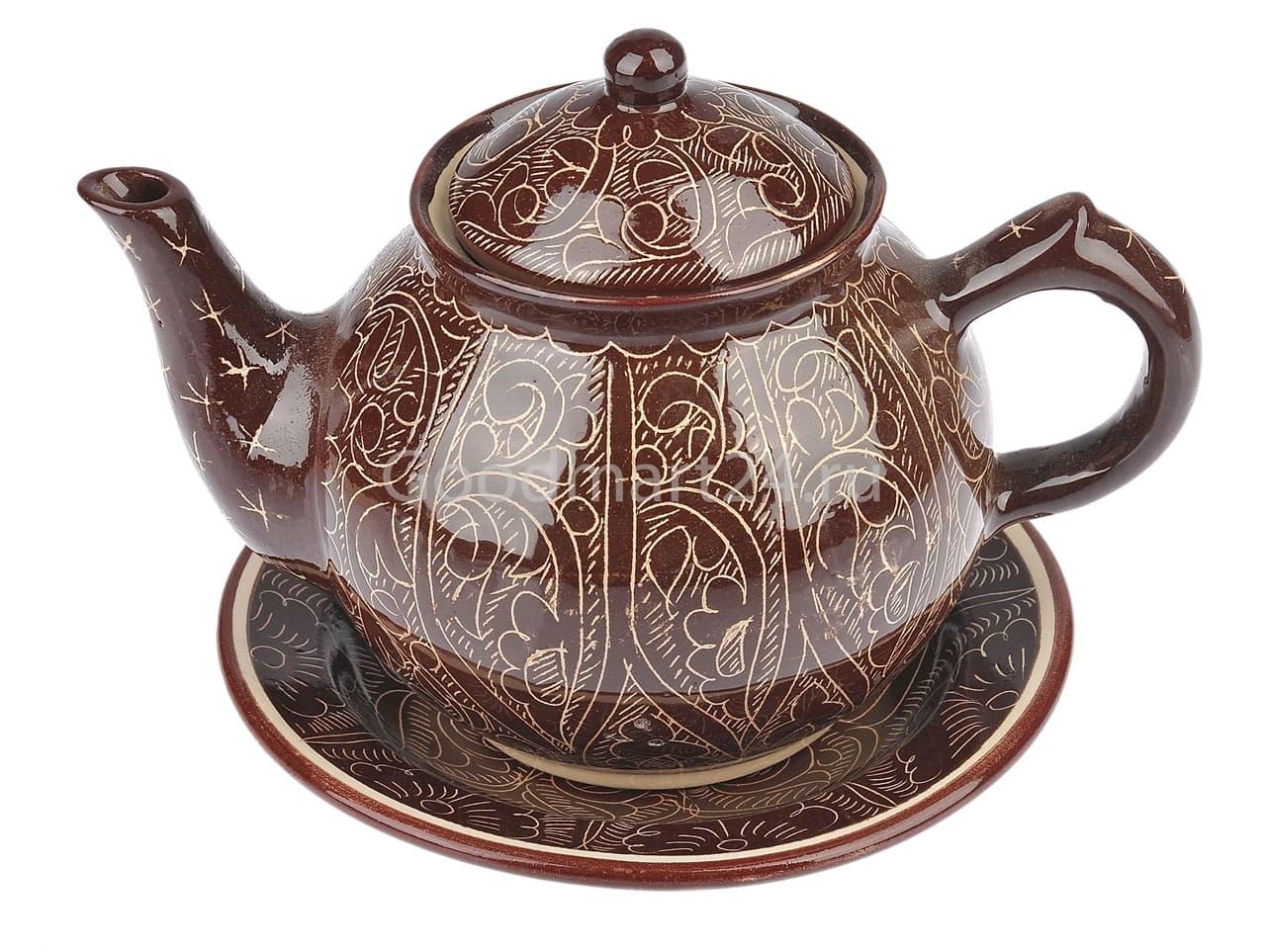 Чайник заварочный Риштанская Керамика 1 л. коричневый - фото 7483