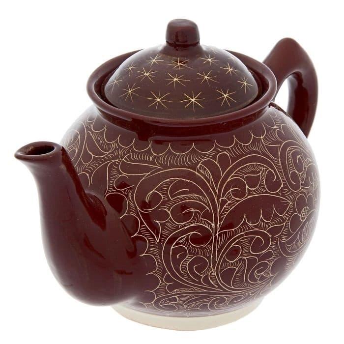 Чайник заварочный Риштанская Керамика 2 л. коричневый - фото 7486