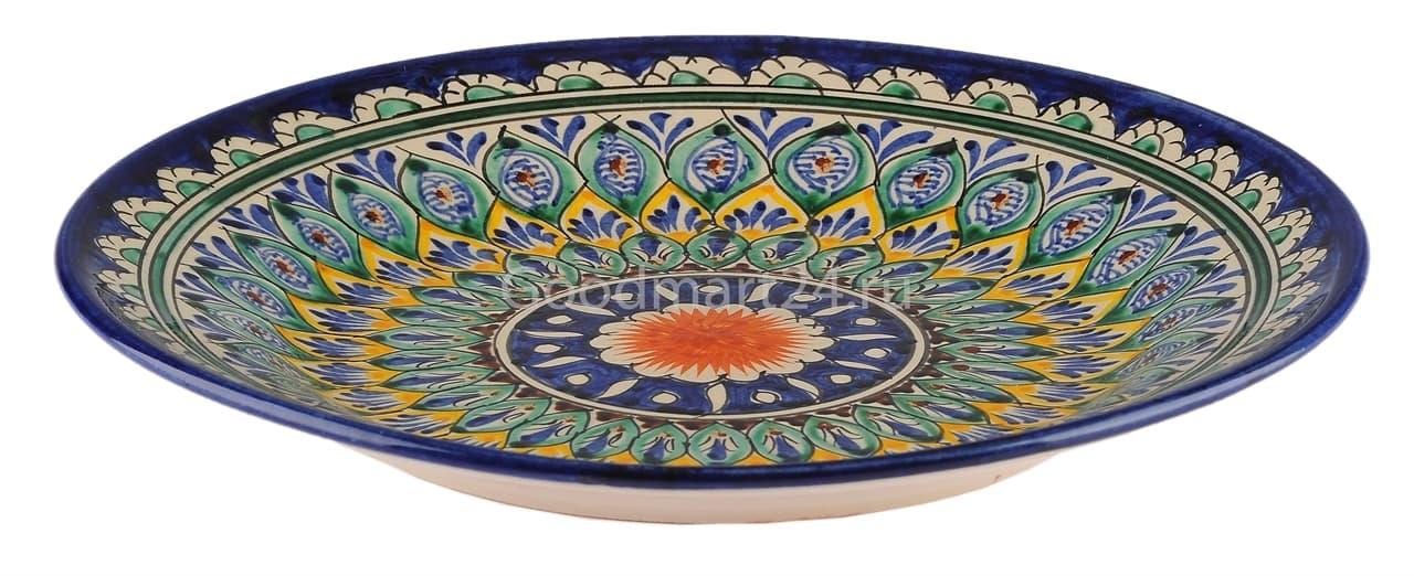Тарелка плоская Риштанская Керамика 27 см. синяя - фото 7495