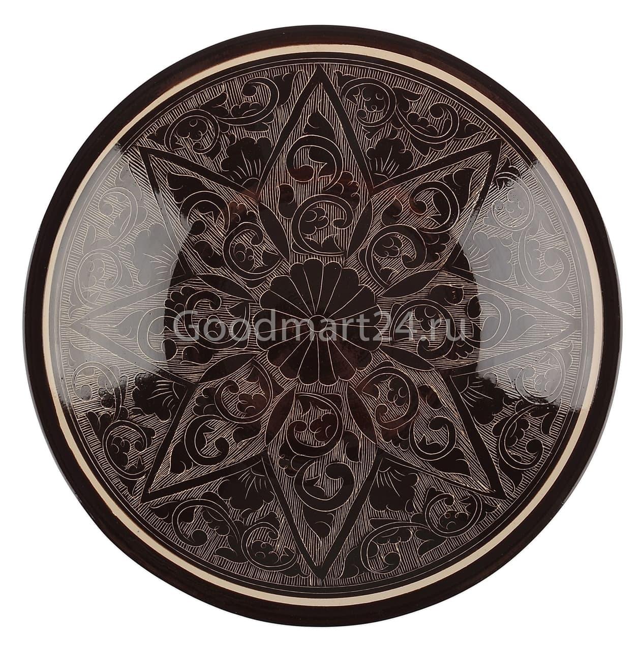 Тарелка плоская Риштанская Керамика 19 см. коричневая - фото 7513