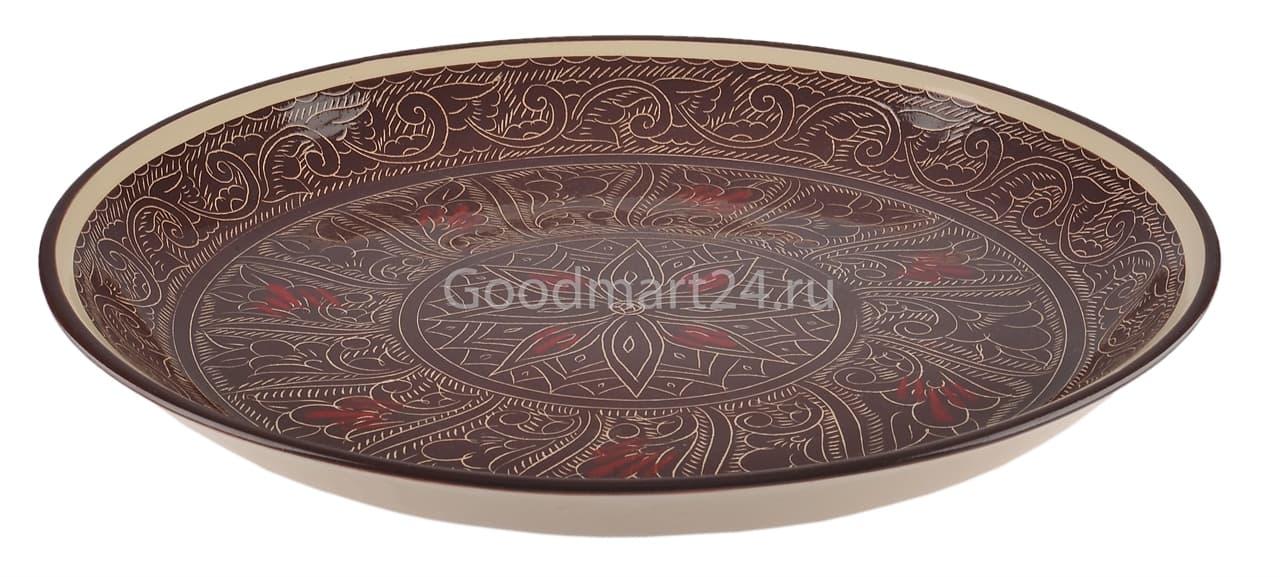 Тарелка плоская Риштанская Керамика 19 см. коричневая - фото 7514