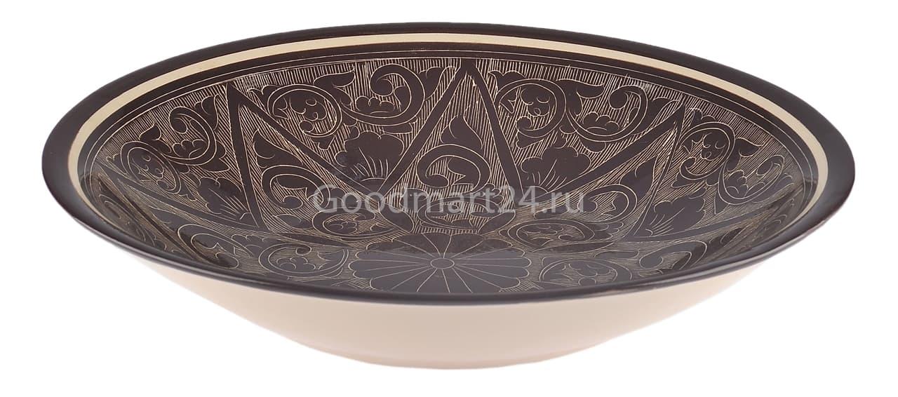 Тарелка плоская Риштанская Керамика 27 см. коричневая - фото 7523