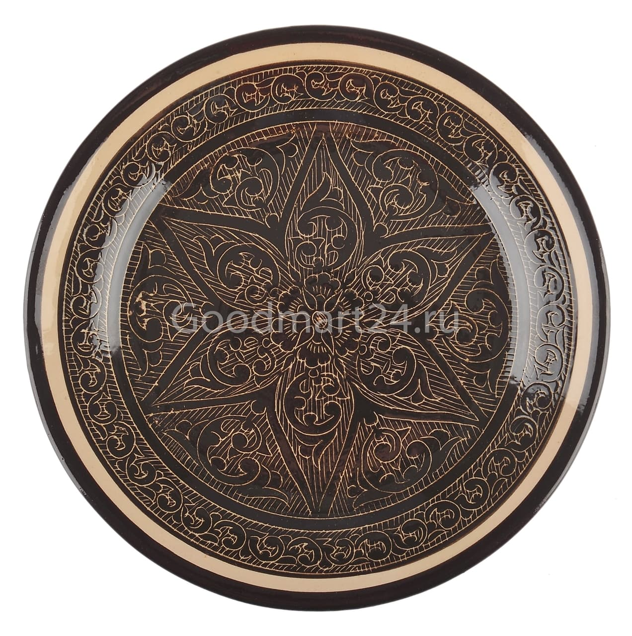 Тарелка плоская Риштанская Керамика 27 см. коричневая - фото 7524