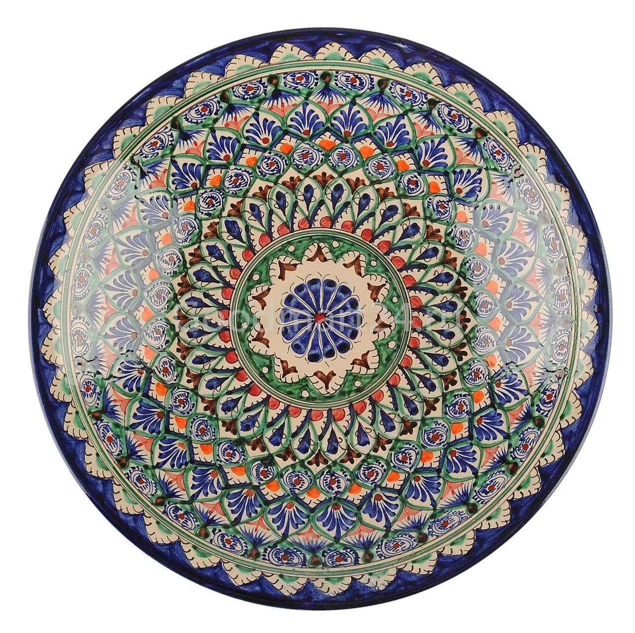 Тарелка глубокая Риштанская Керамика 19 см. синяя - фото 7528