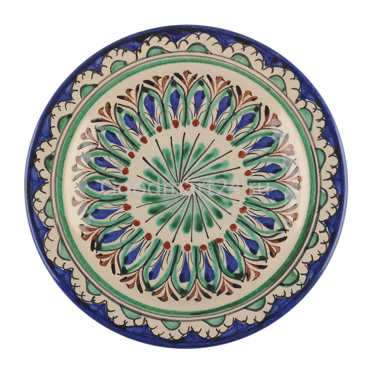 Тарелка глубокая Риштанская Керамика 19 см. синяя - фото 7529