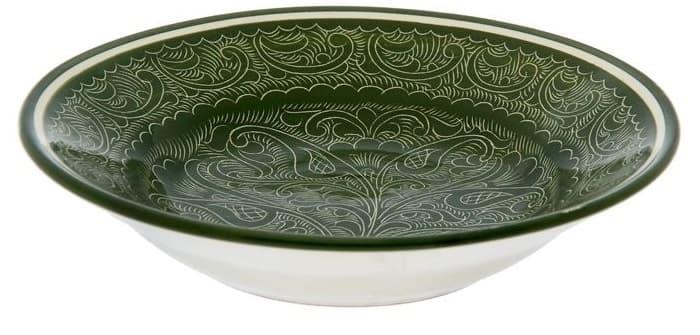 Тарелка глубокая Риштанская Керамика 19 см. зеленая - фото 7530