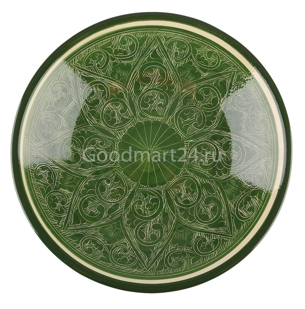 Тарелка глубокая Риштанская Керамика 19 см. зеленая - фото 7531