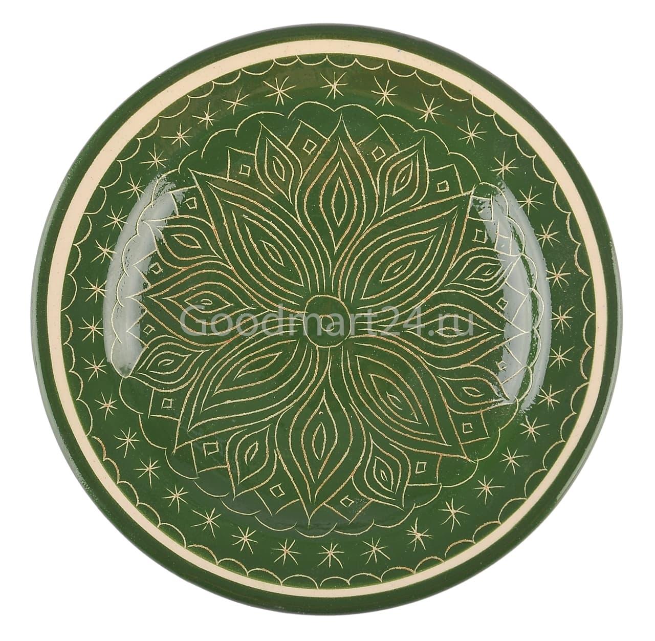 Тарелка глубокая Риштанская Керамика 19 см. зеленая - фото 7532