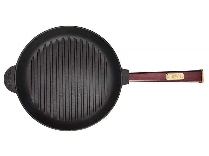 Чугунная сковорода гриль 260 мм. ОПТИМА с дерев.ручкой BRIZOLL арт. О2640Г-Р2 - фото 7833