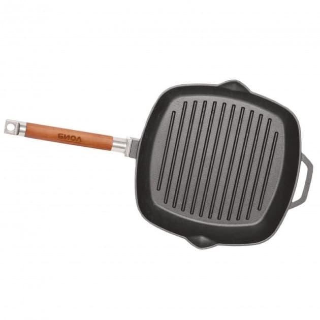 Сковорода-гриль чугунная 280х280х40 с ручкой и стеклянной крышкой арт. 1028С - фото 8052
