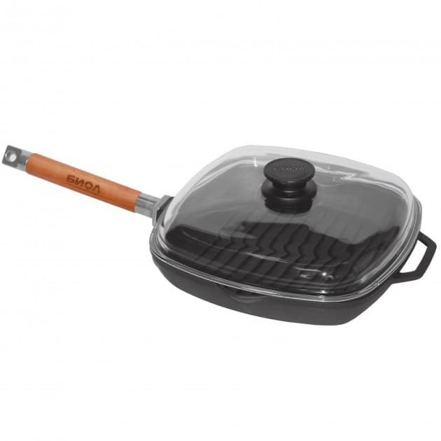 Сковорода-гриль чугунная 280х280х40 с ручкой и стеклянной крышкой арт. 1028С - фото 8053