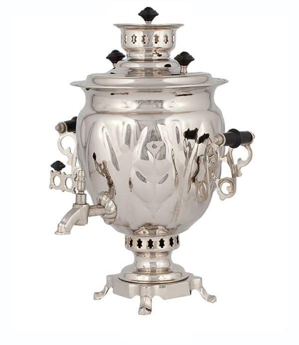 Самовар жаровой (угольный, дровяной) желудь 3 л. латунь никелированная - фото 8960