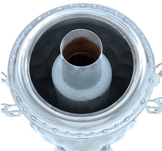 Самовар жаровой (угольный, дровяной) желудь 3 л. латунь никелированная - фото 8962