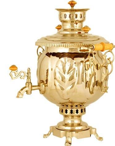 Самовар жаровой (угольный, дровяной) шар 4,5 л. латунь - фото 8972