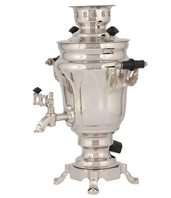 Самовар электрический Тюльпан 1,5 литра латунь никелированная - фото 8976