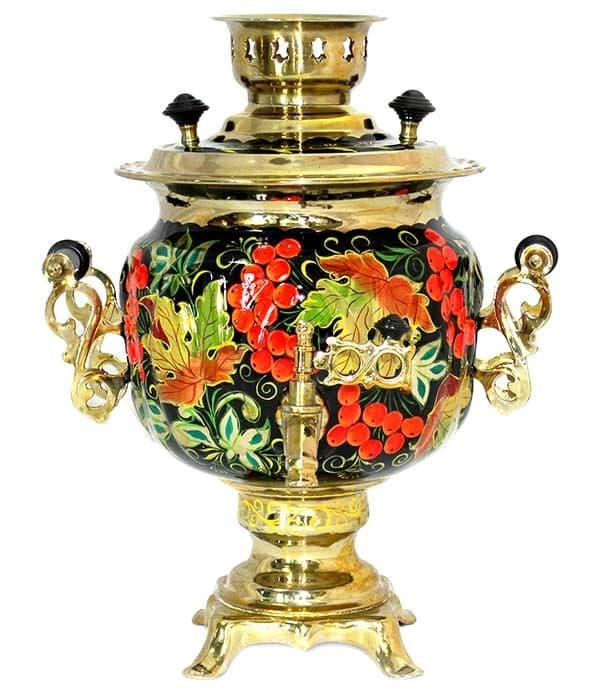 Самовар электрический c росписью Смородина на черном (№10) 3 литра, желудь. латунь - фото 8989