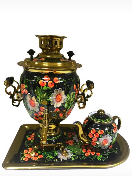 Набор самовар 3 л. желудь, чайник, поднос, расписной Хохлома, латунь Штамп - фото 9000