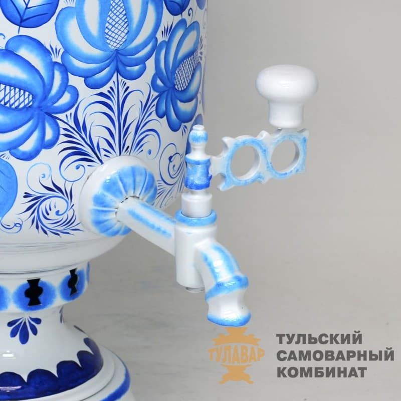 Самовар Гжель Традиционная 5 л.  жаровой (угольный) ТСК - фото 9021