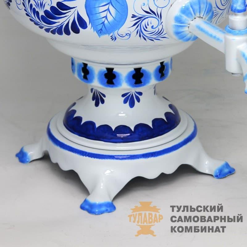 Самовар Гжель Традиционная 5 л.  жаровой (угольный) ТСК - фото 9022