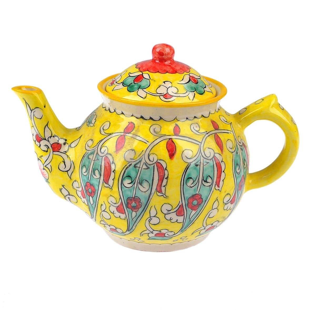 чайник риштанская керамика 2 литра желтый заказать