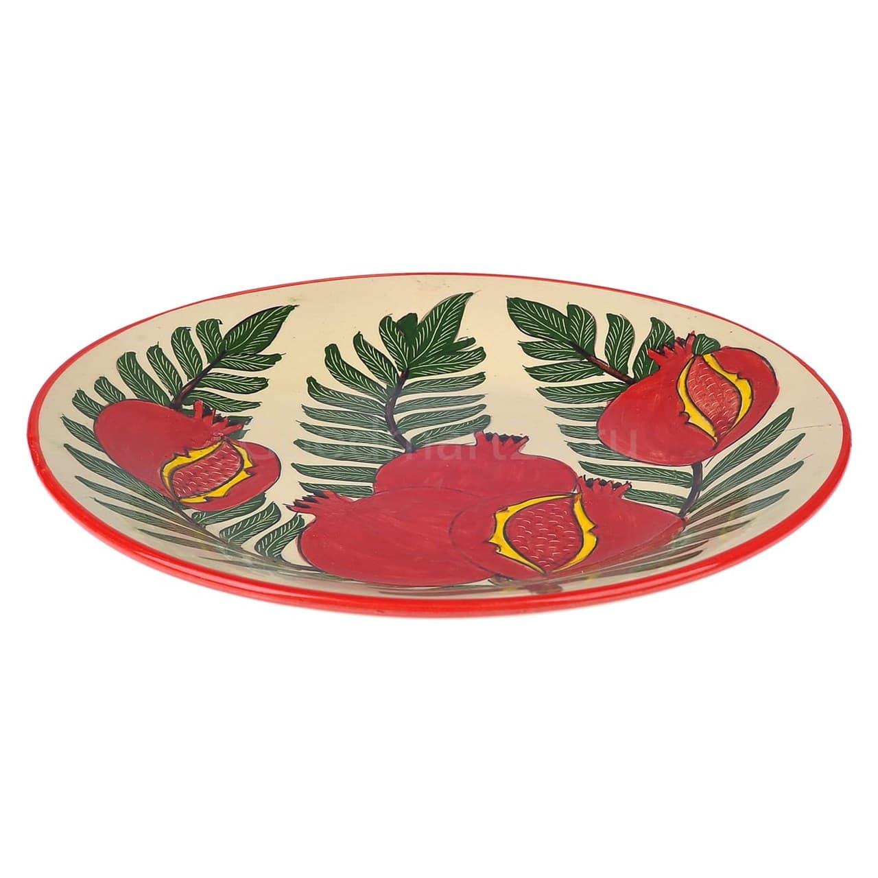 Тарелка плоская Риштанская Керамика 27 см. гранат - фото 9542