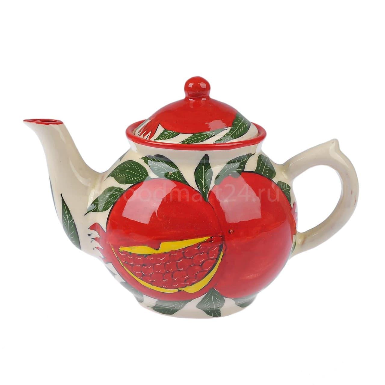 Чайник Риштанская Керамика 1 литр гранат - фото 9552