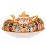Набор чайный риштанская керамика 9 предметов оранжевый мехроб фото