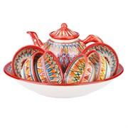 Набор чайный риштанская керамика красный мехроб фото