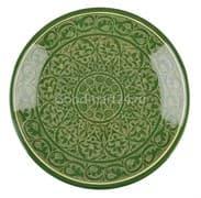 Ляган Риштанская Керамика 46 см. плоский, зеленый