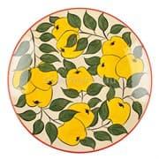 Ляган Риштанская Керамика 38 см. плоский, желтое яблоко фото