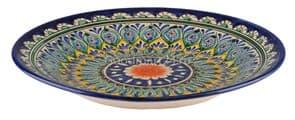 Тарелка плоская Риштанская Керамика 27 см. синяя