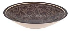 Тарелка плоская Риштанская Керамика 27 см. коричневая