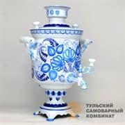 Самовар Гжель Традиционная 5 л.  жаровой (угольный) ТСК